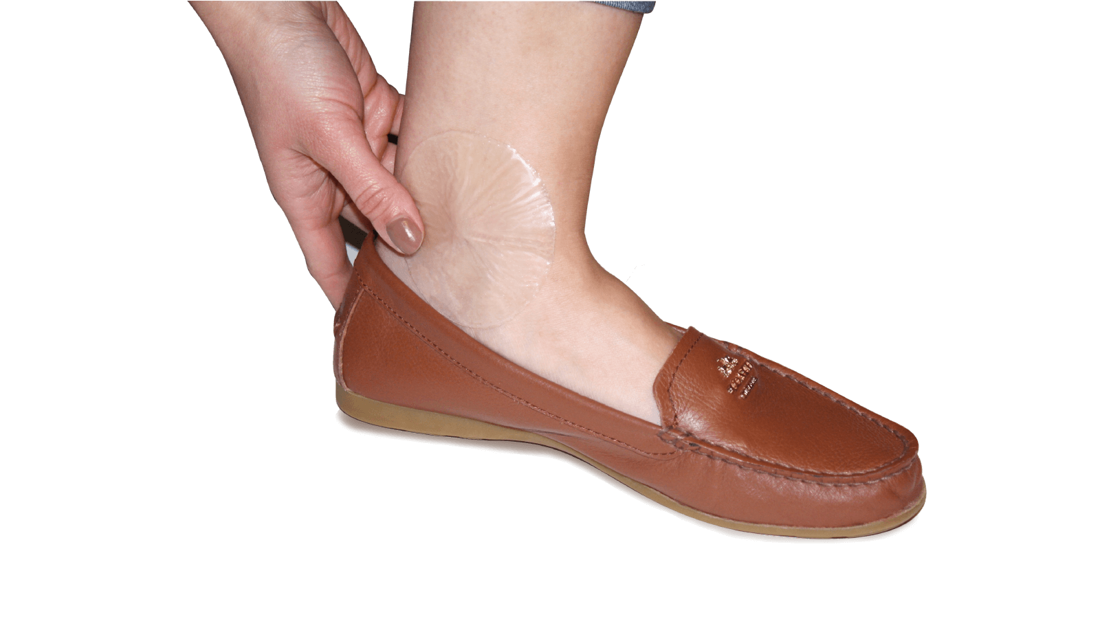 Spenco 2nd skin circles for blister prevention placed on an ankle