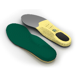 Top and bottom view of the Spenco polysorb cross trainer shock absorbing insoles