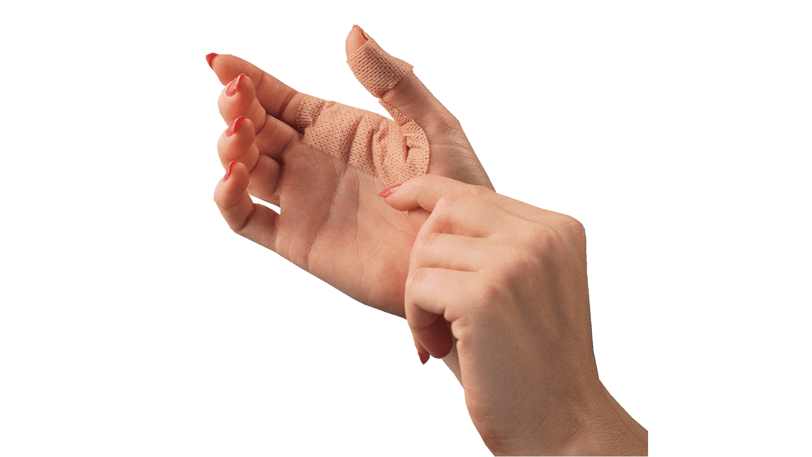 Spenco 2nd skin adhesive knit for blister protection applied to a hand and thumb