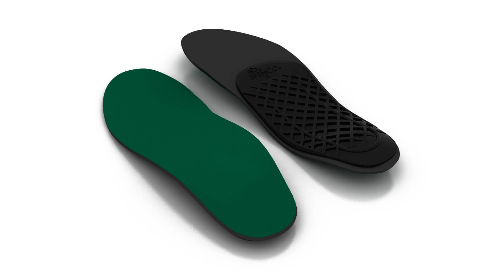 Top and bottom view of the Spenco rx orthotic arch support insoles
