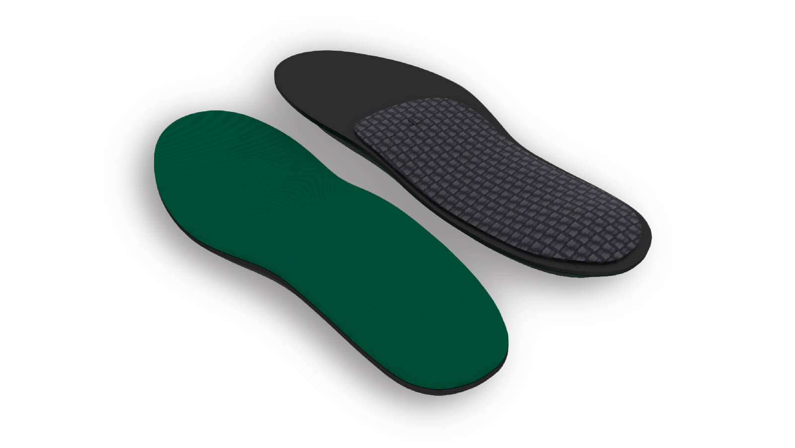 Top and bottom view of the Spenco rx thinsole orthotic arch support insoles