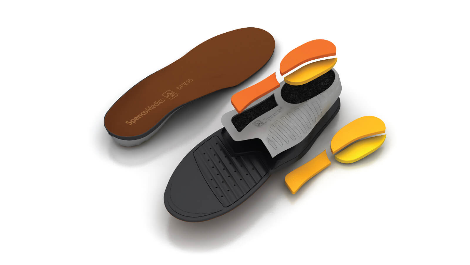 Spenco medics dress custom orthotic insoles with interchangeable heel and midfoot pods broken out