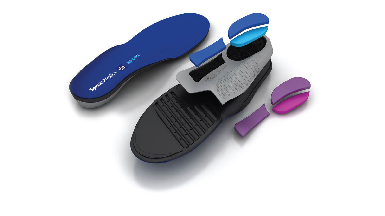 Spenco medics sport custom orthotic insoles with interchangeable heel and midfoot pods broken out